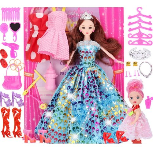 Kids Doll Toy Cartoon Creative Dress Up Doll Toy with a Mini Doll and a Mini Others give children a happy growth All doll joints are mobile and easy