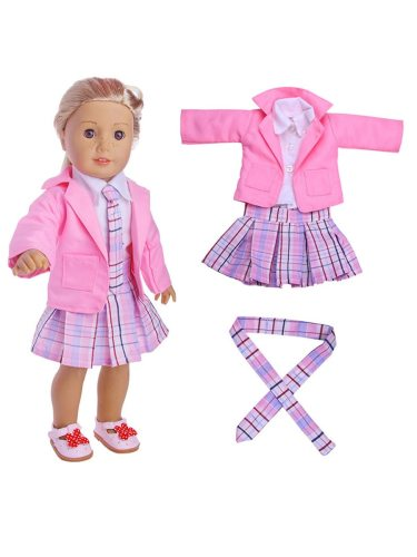 Doll Clothing Set Shirt + Skirt + Necktie Kid's Dress Up Toy Only Clothes, Excluding Doll Size: suitable for 18 inches doll
