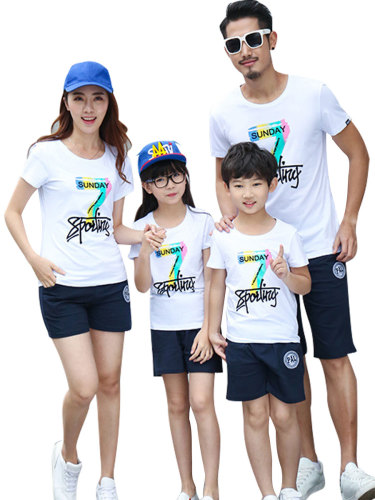 1 Pc Family Outfit Cartoon Pattern Comfy All Match Family Outfit Letter Tops Family Outfit Boys & Girls Short Sleeve Crew Neck