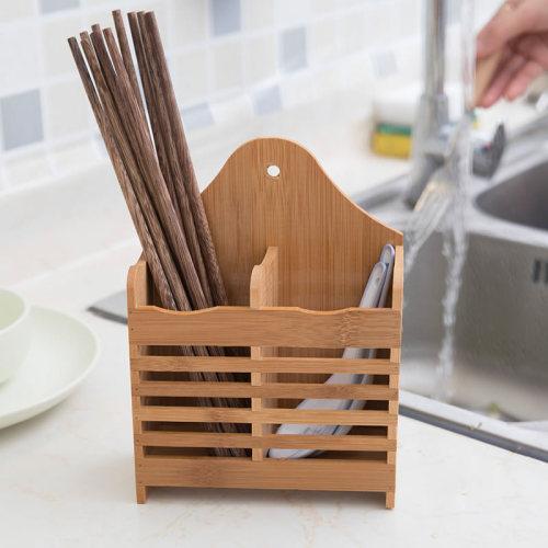 Chopsticks Storage Box Simple Wood Draining Chopsticks None Shipping Unrestricted