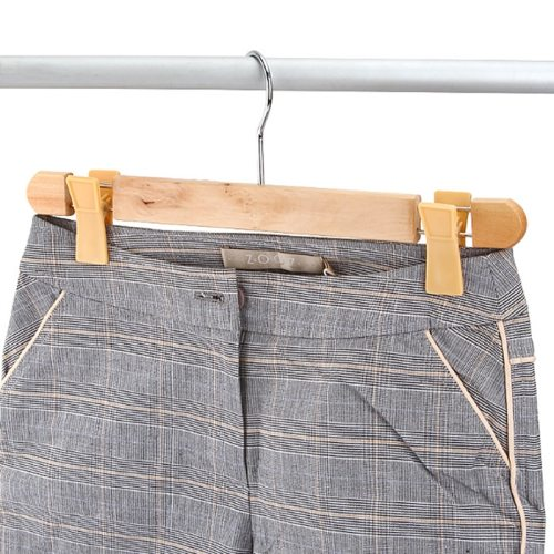 3 Pieces Wood Pants Hangers With Clips Anti-Slip Multi-Use Laundry Quantity:3