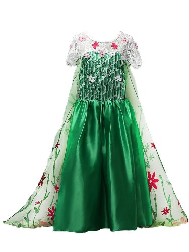 Toddlers Girl's Trailing Dress Flower Decoration Short Sleeve Ball Floral Cosplay Set