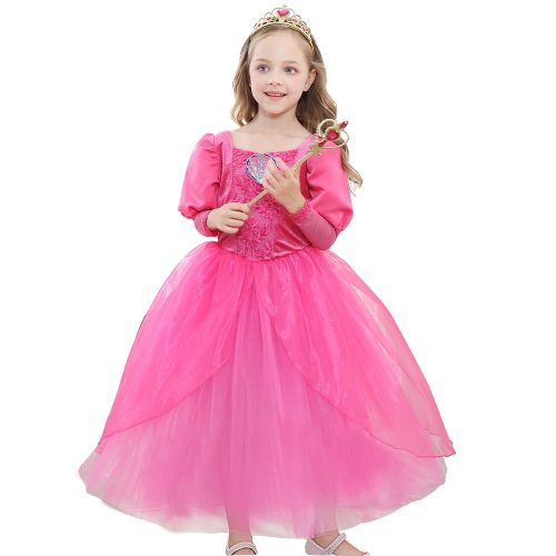 's Princess Dresses Aurora Cosplay Costume Hoween Layered All Long Sleeve Cosplay Dress Girl Pleated Toddler Girls 8Y Jacquard