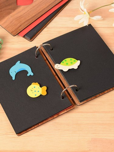 1 Pc Album Simple Vintage Style Wood Cover Creative 6inch DIY Autograph 32 pages