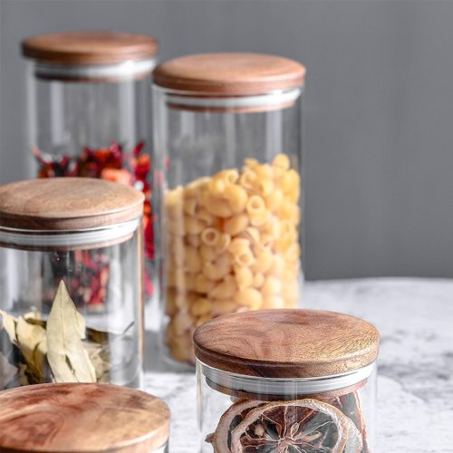 1 Piece Glass Jar With Wood Lid Transparent Kitchen Dry Food None Size:As Picture Shown Shipping Unrestricted