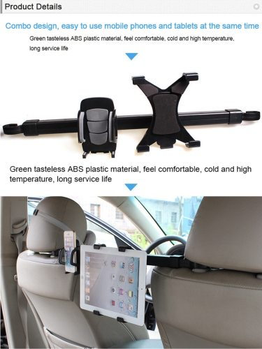 Car Headrest Dual Mount Holder Durable Free Rotation Portable Black Phone both sides of the telescopic3 Install the phone or tablet on the tray