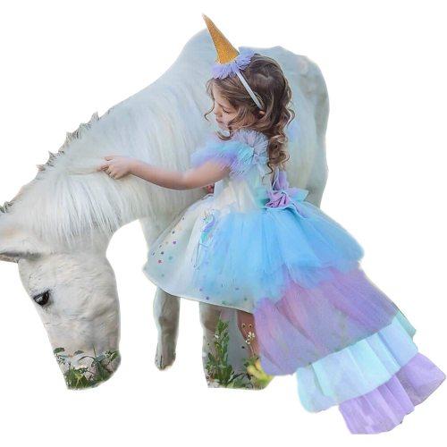's Costume Unicorn Pattern Crew Neck Short Sleeve Backless Sleeveless Girl Toddler Girls All Zipper Cosplay Dress Patchwork 8Y