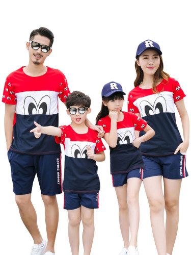 Kids Family Outfit Fashion Stylish Patchwork Cartoon Pattern T Short Sleeve Crew Neck Tops Family Outfit Boys & Girls Floral