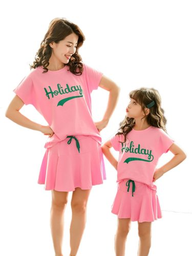 2Pcs Kids Family Outfit Loose T Shirt Casual Skirt Family Matching Outfit Girls Crew Neck Tassel Short Sleeve Set Family Outfit