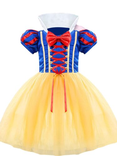 Toddler Girls Gil's Princess Cosplay Dress Snow White Cosplay Set Bow Patchwork