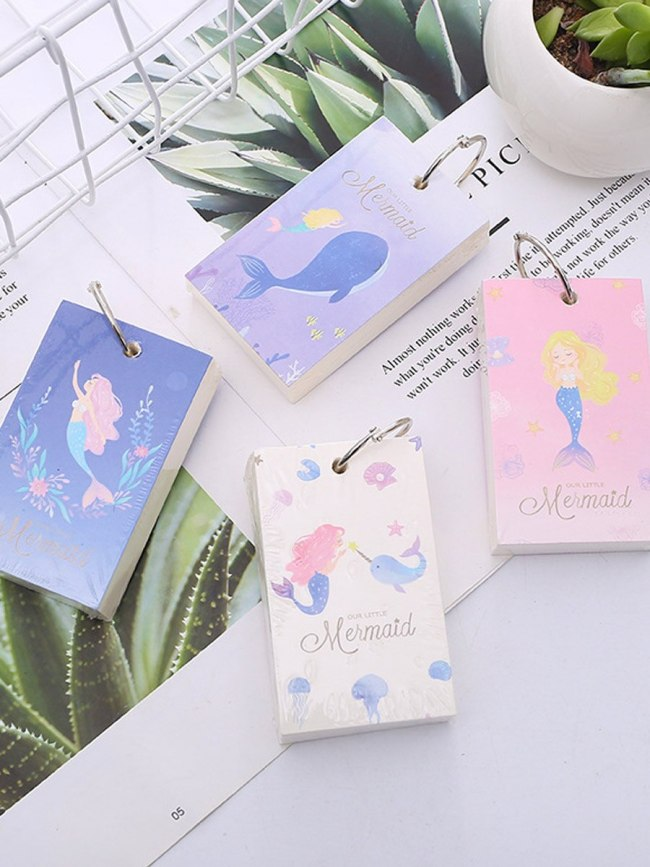 1 Pc Coil Notebook Simple Preppy Style Cartoon Whale Pattern Office Business Size:9*54cm Writing