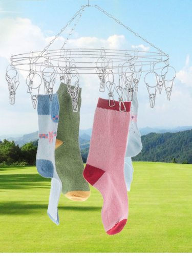 1 Pc Stainless Steel Drying Hanger Multi Clips Wind Resistant Socks Underwear Drying Size: 40*40*10cm