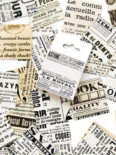45Pcs/Set Stickers Vintage Letter Pattern Design Fashion Multi Stickers Set Shape Examining Simple Size:65*44cm