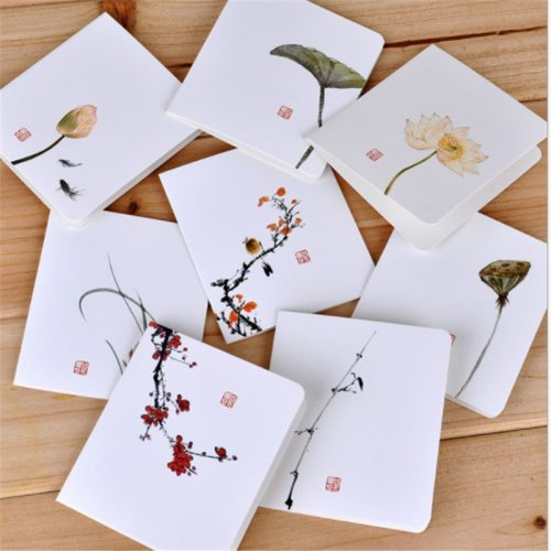 8Pcs Greeting Cards Chinese Style Flower Message Cards Festival Blessing Size:156*87cm