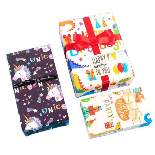 10 Sheets Gift Wrapping Paper Unicorn Flamingo Letters Pattern Packing Others