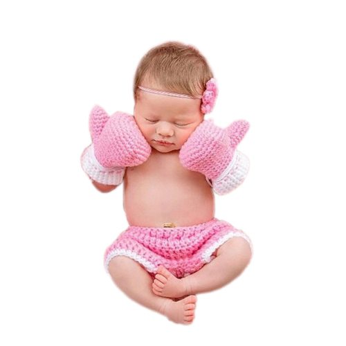 Kid's 2Pcs Shorts Set Fashion Gloves Casual Shorts Unisex Colorblock 0-1Y Hollow out All The hairband is not included