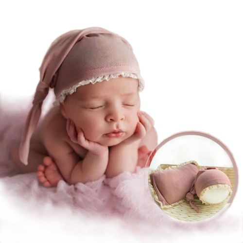 's 2 Pcs Photography Props Cute Hat Soft Pillow Hollow out Solid Color Unisex 0-1Y Baby All