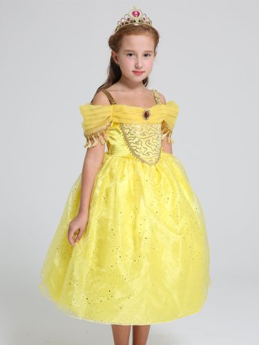 Toddler Girls Girl's Off Shoulder Beauty And The Beast Belle Cosplay Dress A Dress Sequins Solid