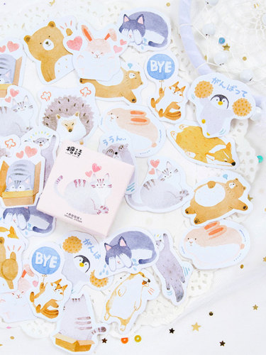 45 Pcs DIY Decorative Stickers Cute Cartoon Pattern Album Finance Fresh Animal Size:7*5*1cm Multi Stickers Set