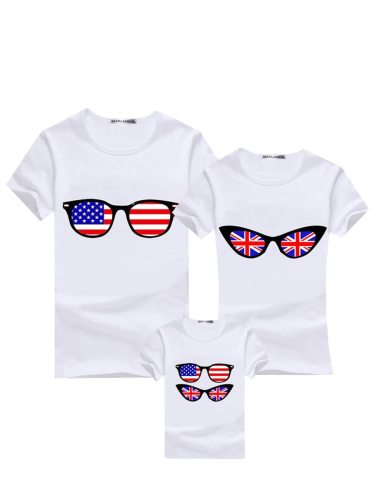 1Pc Top Family Outfit Fashion Cool Flag ing Stylish T Print Tops Family Outfit Boys & Girls Short Sleeve Embroidery Crew Neck