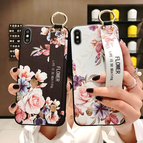 iPhone 11/11 Pro/11 Pro Max/ Xs/Xs Max/XR/X/8/8 Plus/7/7 Plus/6S/6S Plus Phone Cover Flowers Pattern Wristband Apple Soft Simple