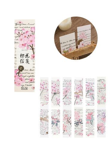 30 Pcs Bookmarks Sakura Pattern Creative Paper Size: 15*4cm