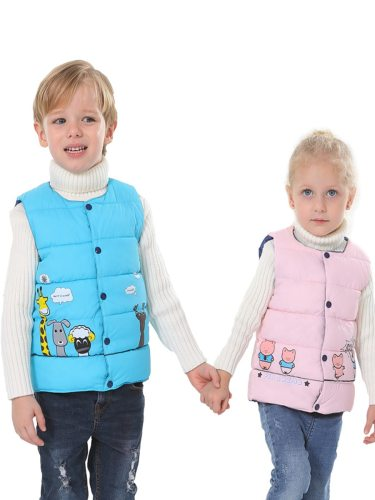 Brother & Sister's Vest Jacket Animal Pattern Sleeveless Cartoon Crew Neck Epaulets