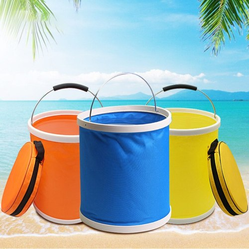 13L Large Capacity Thicken Foldable Canvas Bucket With Zipper Car Wash Bucket space saving
