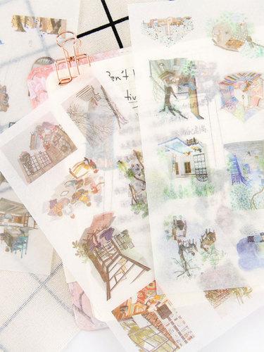 6 Pcs Stickers Creative Student Hand Book Decoration 16*8*1cm Fresh Shape Gift Multi Stickers Set