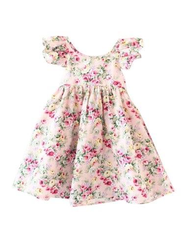 Girl's Dress Fashion Stylish Backless Sleeveless Floral 14Y Summer Crew Neck Ruffles Midi Dresses Baby