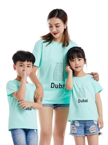 One Piece Top Family Outfit Letter Simple T Shirt Short Sleeve Boys & Girls Print Crew Neck Tops Family Outfit
