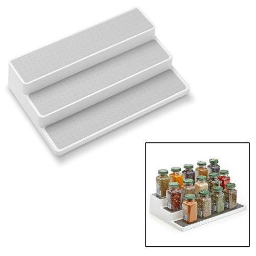 1 Piece Storage Rack Three Layer Ladder Spice Storage TPR can play a good non-slip effect3 Three-layer stepped design to fit a variety of bottles and