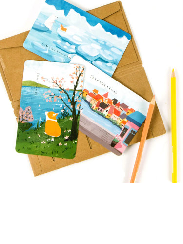 30 Pcs Student's Greeting Cards Cute Cartoon Dog Pattern Rectangle Finance Simple Single Page Cards Size:15*13*1cm