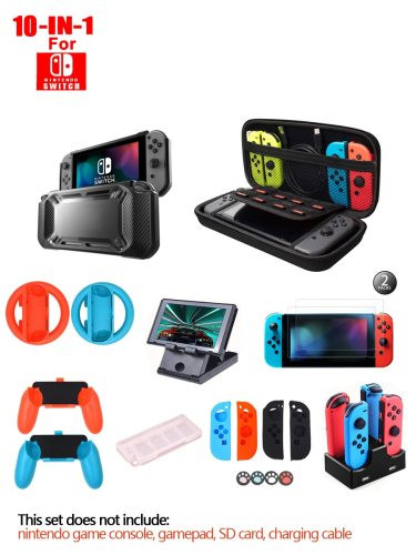 10 In 1 Kit For Nintendo Switch Games Bundle Wheel Grip Caps Carrying Case Screen Protector Controller power bank