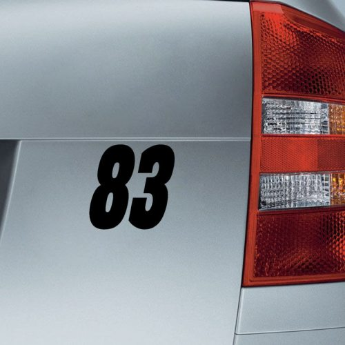 Car Sticker Creative Number 83 Pattern Waterproof Removable Vehicle Stick Type Engine Cover Red
