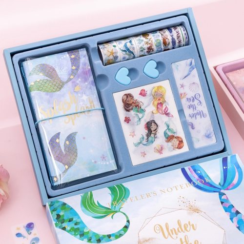 Gift Set Print Notebook Sweet Style Tape Solid Color Clip School Suppies