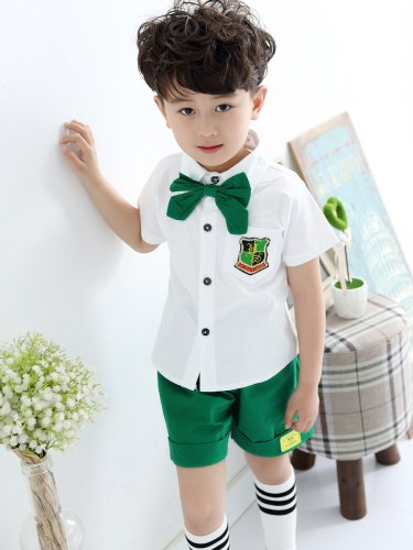 Brother & Sister Family Outfits Bow Knot Design Top Shorts/Skirt Set Family Patchwork Turn Down Collar Pocket Sleeveless