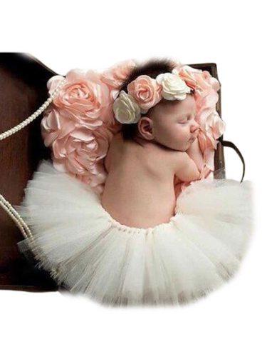 2 Pcs 's Photo Props Simple Floral Pattern Tutu Skirt Fashion Baby Ruffles waist 36cm Solid