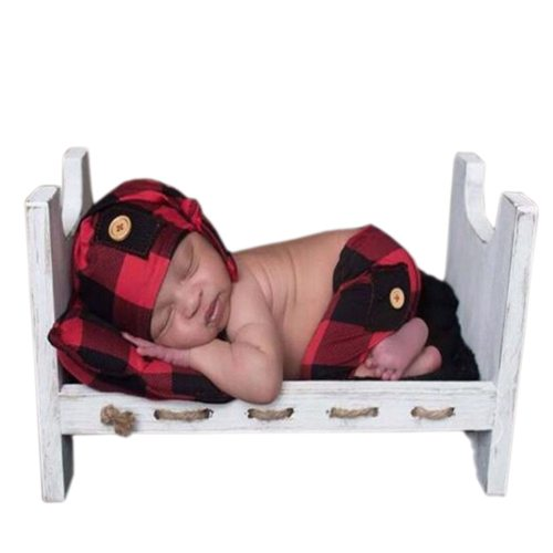 's 3 Pcs Photography Props Set Design Pillow & Shorts & Hat Pocket Unisex Plaid 0-1Y All Baby