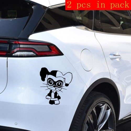 2 Pieces Car Sticker Funny Animal Design Waterproof Removable Car Trail Red Stick Type