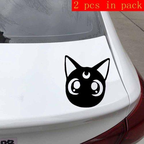 2 Pcs Car Stickers Cute Moon Cat Design Vinyl Decal Cartoon Car Trail Blue Sports Stick Type