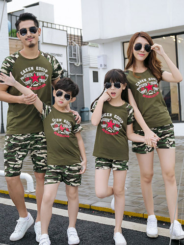 1 Piece Kids Family Outfit T-Shirt Voguish Patchwork Comfy Casual T Short Sleeve Boys & Girls Cartoon Tops Family Outfit Crew Neck