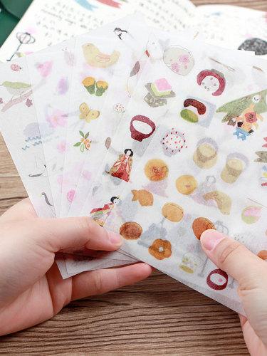 6 Pcs Stickers Cute Cartoon Style Photo Album Decorative Plant Multi Stickers Set Gift Fresh Size: 11 * 14 * 1 cm