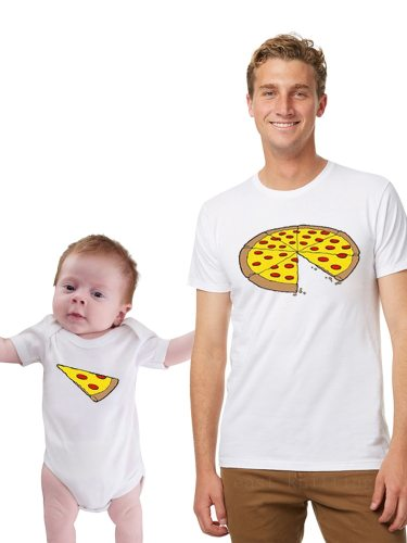 Baby Family Outfits T Shirt Pizza Pattern Letter Crew neckRelaxed fitFalls loosely over the bodyShort sleevesTrue to size Crew Neck Tops Family Short