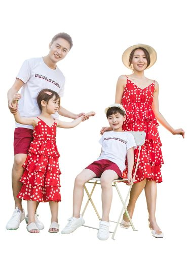 Kids Family Outfits Stylish Sweet Dots Pattern Dress And T-Shirt Shorts Boys & Girls V Neck Ruffles Sleeveless Colorblock Tops Family Outfit