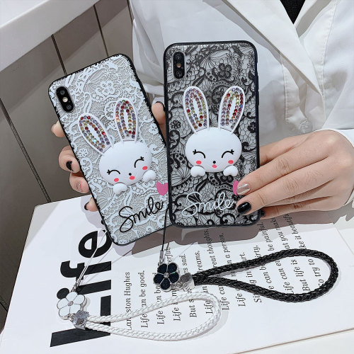 Galaxy Note 10/S10/S10 Plus/S10 Lite/S9/S9 Plus/S8/S8 Plus Phone Cover Romantic Lace Rabbit Pattern Full Protection Samsung Business Customized