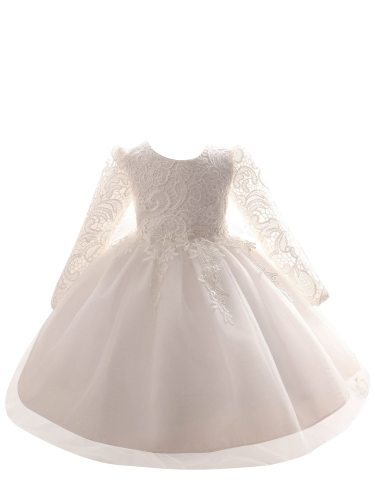 Girl's Dress Lace Patchwork Tulle 3Y Ruffles Midi Long Sleeve Baby Summer Jacquard Crew Neck