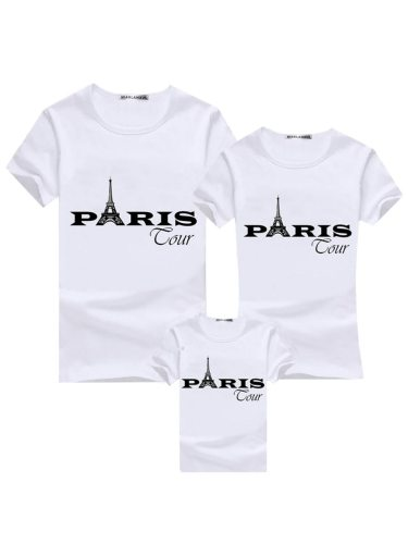 Kids Family Outfit Fashion Stylish Tower Printing T Crew Neck Letter Tops Family Outfit Short Sleeve Girls