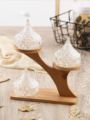 4Pcs Seasoning Tool Set Creative Glass Pot Wood Stand size: pot: 8*8*8cm