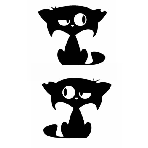 2 Pcs Sweet Cat Pattern Car Stickers Funny Car Bumper Window Vinyl Stick Type Sports Engine Cover Yellow